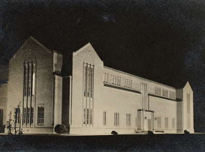 Floodlit photo of the library building (ph 3073)
