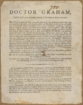 Item 172 (Vol. 1) – Advertisement for a public demonstration of 'earth-bathing' by Doctor Graham