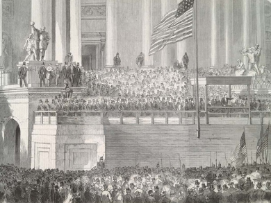 'President Lincoln delivering his inaugural address in front of the capital at Washington', Illustrated London News, March 1861 [quarto per A]