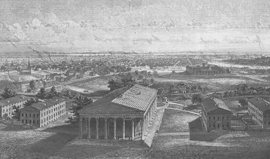 Black and white engraving of a scene entitled 'Philadelphia' from a letter from Evelyn Ashley to his sister Lady Victoria Ashley, 1 February 1859 [Broadlands Archives BR60/1/7]