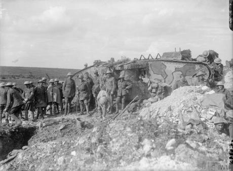 Battle of Flers-Courcelette. A Brigadier and his staff outside Tank 17 of D Company, which was used as his Headquarters. Near Flers, 21st September 1916. © IWM (Q 2487)
