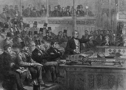 Illustration of Lord Palmerston making the Ministerial Statement on Dano-German Affairs in the House of Commons: Illustrated London News, 2 July 1864 [quarto per A]