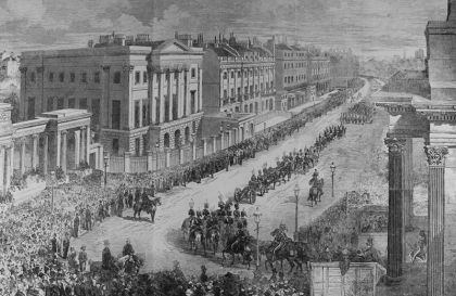 Illustration of the funeral procession for the Duke of Wellington passing Apsley House: Illustrated London News, 27 November 1852 [Rare Books quarto per A]