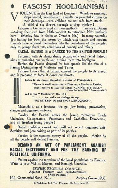 'Fascist Hooliganism!' poster [MS 60/15/53]