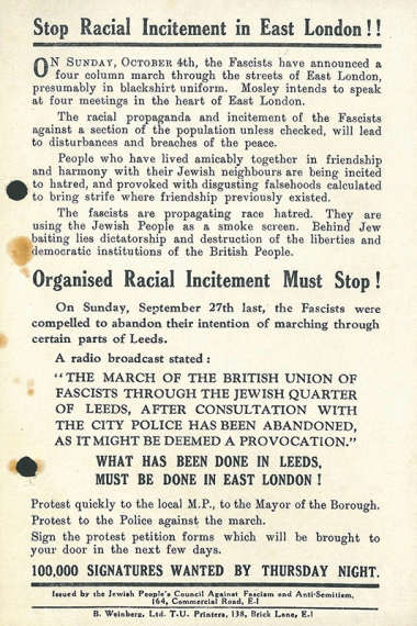 'Stop Racial Incitement in East London!!' poster [MS 60/15/53] – thousands of leaflets were distributed prior to the march