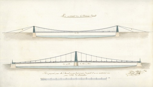 Drawing of the elevation of a chain bridge over the River Tweed, and of a chain bridge designed by Brunel for the Île de Bourbon