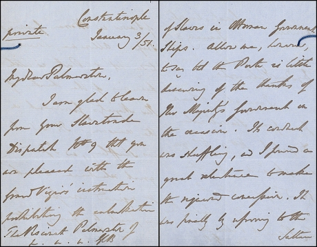 Letter from Stratford Canning to Palmerston on Ottoman actions against the slave trade
