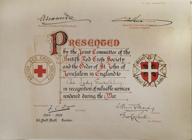 Certificate granted to Lady Swaythling [MS 383 A4000/2/1]