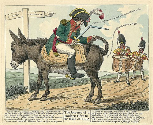 Cartoon, 'The journey of a modern hero, to the island of Elba', by J. Phillips.