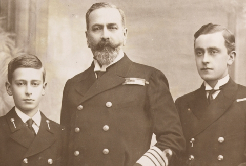 Black and white photograph of Prince Louis Alexander of Battenberg and his sons, Louis (on the left) and George (on the right), 1914 [MB2/A12/34]