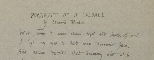 Opening lines of Edmund Blunden's Portrait of a colonel [MS10 A243/2]