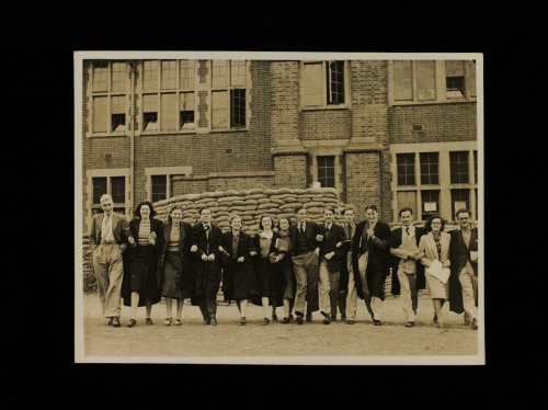 Students outside a sandbag protected University College of Southampton, 4 October 1939 [MS310/43 A2038/2]