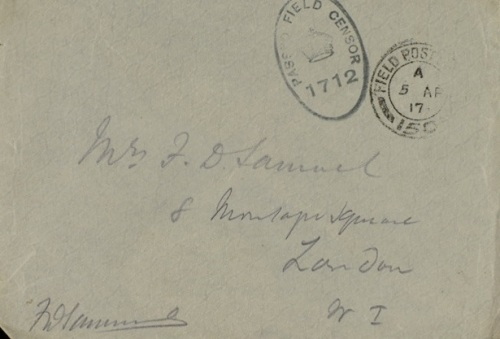 Envelope of letter from Fred Samuel to his wife, 1917 [MS336 A2097/8/2/31]