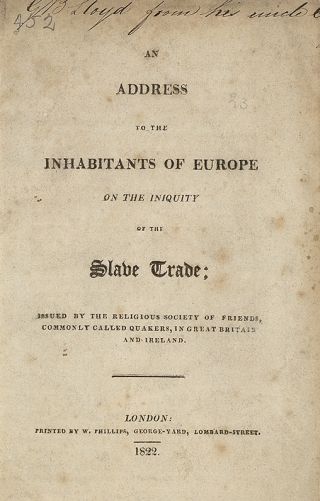 An address to the inhabitants of Europe on the iniquity of the slave trade [Rare Books HT 1322]